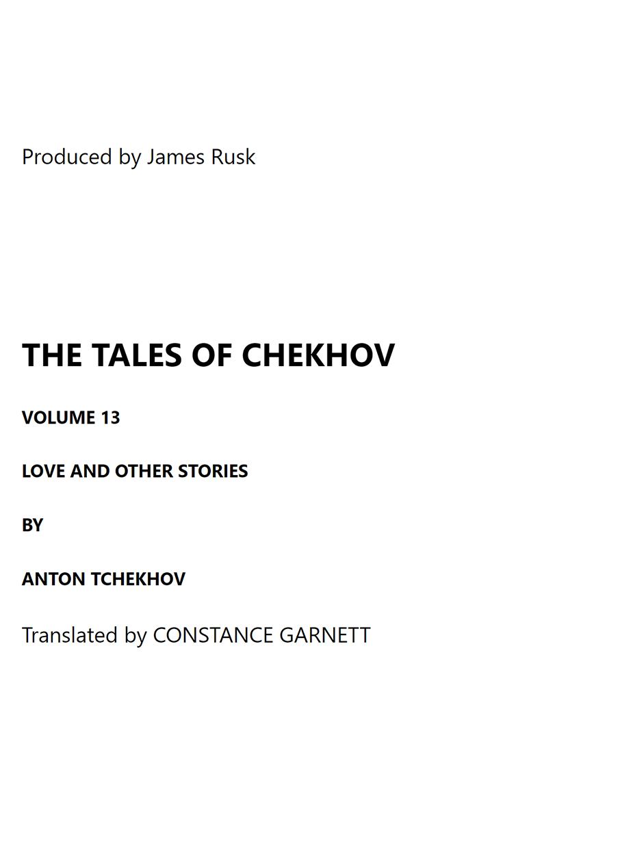 Short Stories - Anton Chekhov